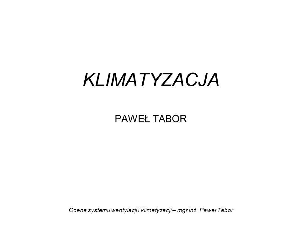 KLIMATYZACJA PAWEŁ TABOR Ocena systemu wentylacji i klimatyzacji – mgr inż. Paweł Tabor