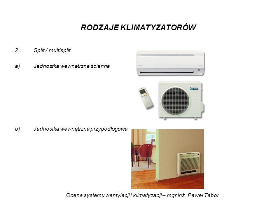 Ocena systemu wentylacji i klimatyzacji – mgr inż. Paweł Tabor RODZAJE KLIMATYZATORÓW 2.Split / multisplit a)Jednostka wewnętrzna ścienna b)Jednostka