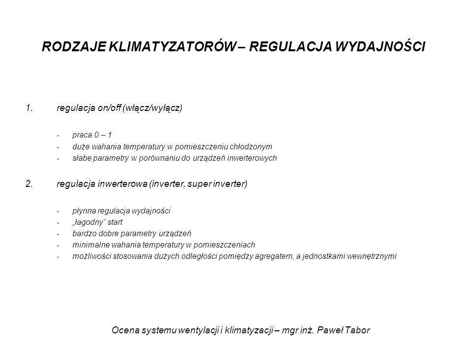 Ocena systemu wentylacji i klimatyzacji – mgr inż. Paweł Tabor RODZAJE KLIMATYZATORÓW – REGULACJA WYDAJNOŚCI 1.regulacja on/off (włącz/wyłącz) -praca