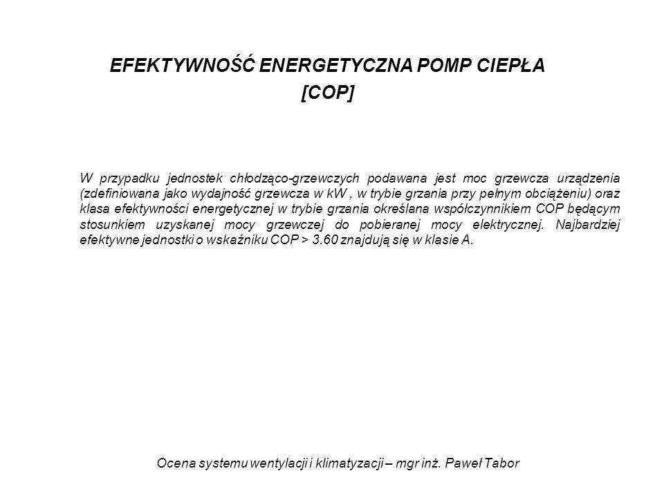 Ocena systemu wentylacji i klimatyzacji – mgr inż. Paweł Tabor EFEKTYWNOŚĆ ENERGETYCZNA POMP CIEPŁA [COP] W przypadku jednostek chłodząco-grzewczych p