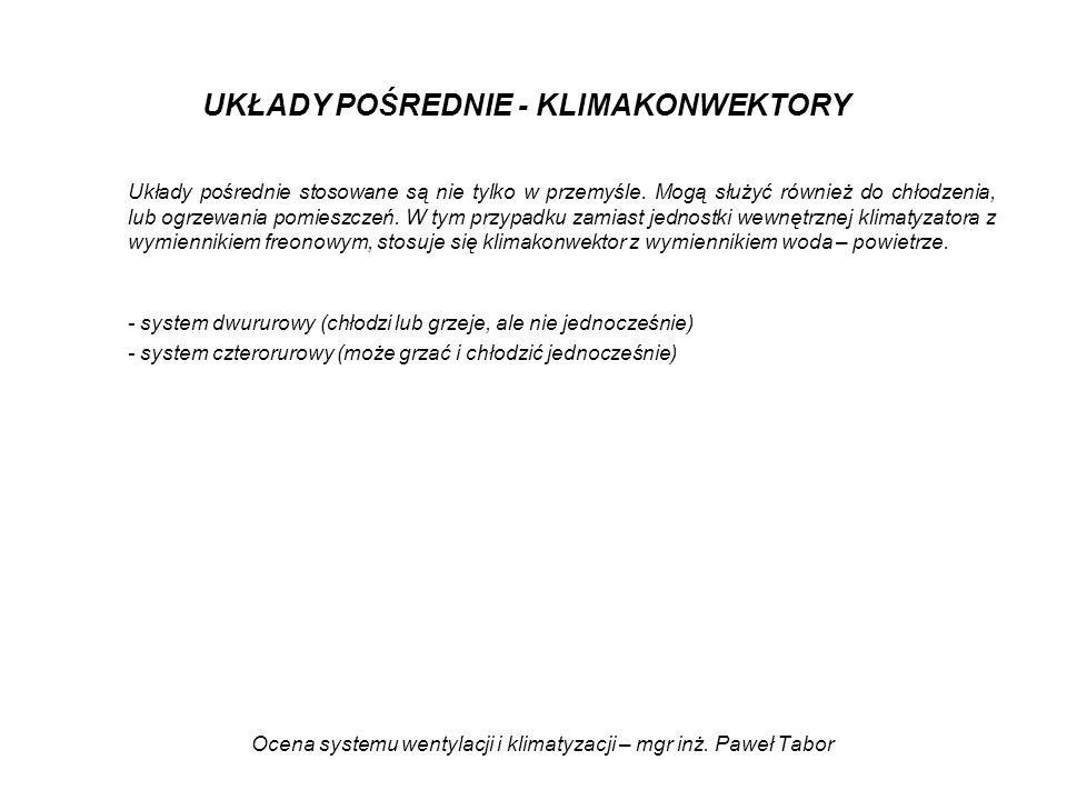 Ocena systemu wentylacji i klimatyzacji – mgr inż. Paweł Tabor UKŁADY POŚREDNIE - KLIMAKONWEKTORY Układy pośrednie stosowane są nie tylko w przemyśle.