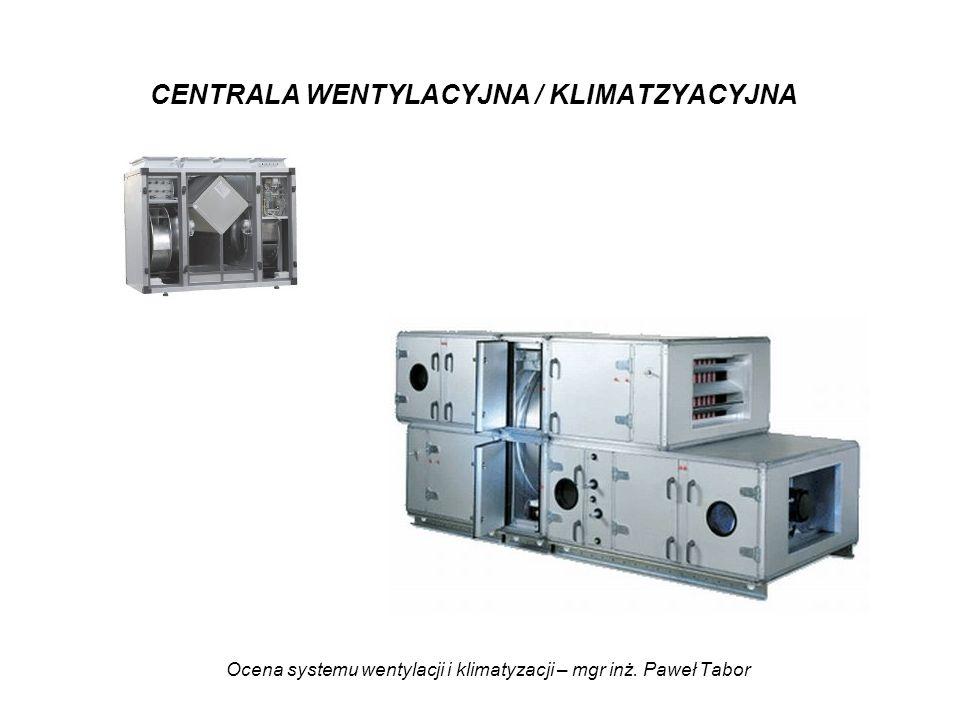 Ocena systemu wentylacji i klimatyzacji – mgr inż. Paweł Tabor CENTRALA WENTYLACYJNA / KLIMATZYACYJNA