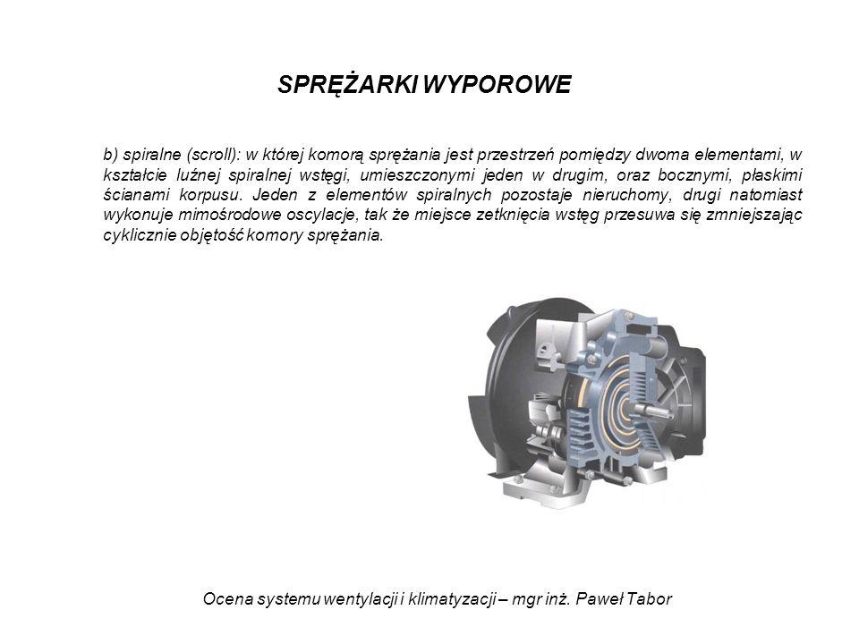 Ocena systemu wentylacji i klimatyzacji – mgr inż. Paweł Tabor SPRĘŻARKI WYPOROWE b) spiralne (scroll): w której komorą sprężania jest przestrzeń pomi