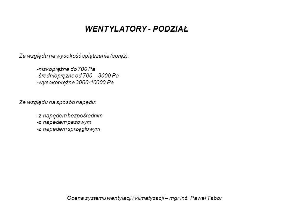 Ocena systemu wentylacji i klimatyzacji – mgr inż. Paweł Tabor WENTYLATORY - PODZIAŁ Ze względu na wysokość spiętrzenia (spręż): -niskoprężne do 700 P
