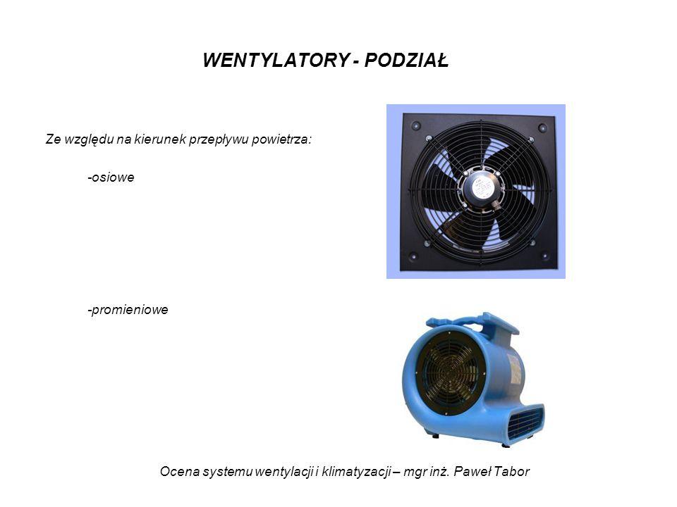 Ocena systemu wentylacji i klimatyzacji – mgr inż. Paweł Tabor WENTYLATORY - PODZIAŁ Ze względu na kierunek przepływu powietrza: -osiowe -promieniowe