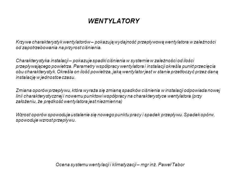 Ocena systemu wentylacji i klimatyzacji – mgr inż. Paweł Tabor WENTYLATORY Krzywe charakterystyk wentylatorów – pokazują wydajność przepływową wentyla