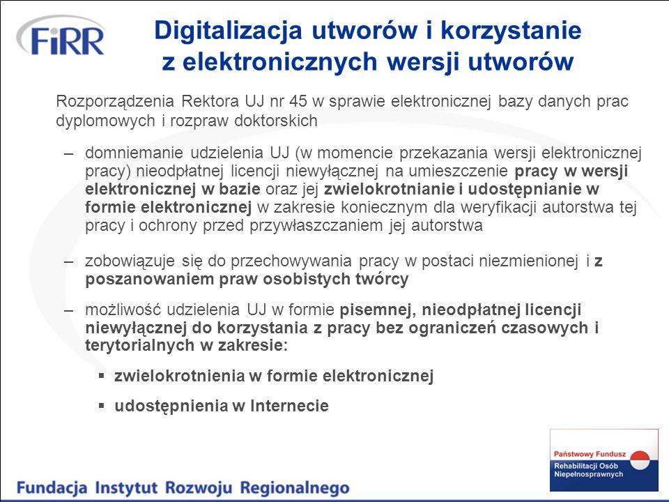 Digitalizacja utworów przed upływem autorskich praw majątkowych możliwość dokonania digitalizacji bez zgody uprawnionego z tytułu praw autorskich w zakresie dozwolonego użytku (osobistego lub publicznego) art.