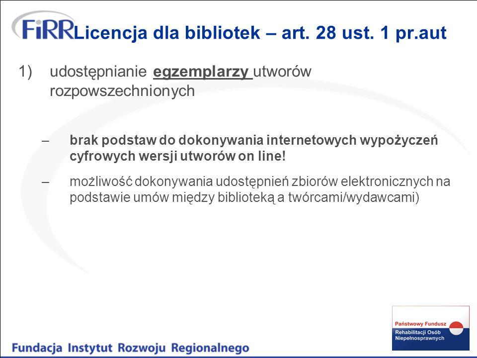Licencja dla bibliotek – art.28 ust.