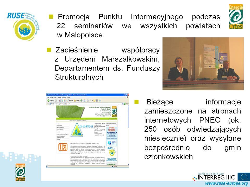 Polska Sieć Promocja Punktu Informacyjnego podczas 22 seminariów we wszystkich powiatach w Małopolsce Bieżące informacje zamieszczone na stronach inte