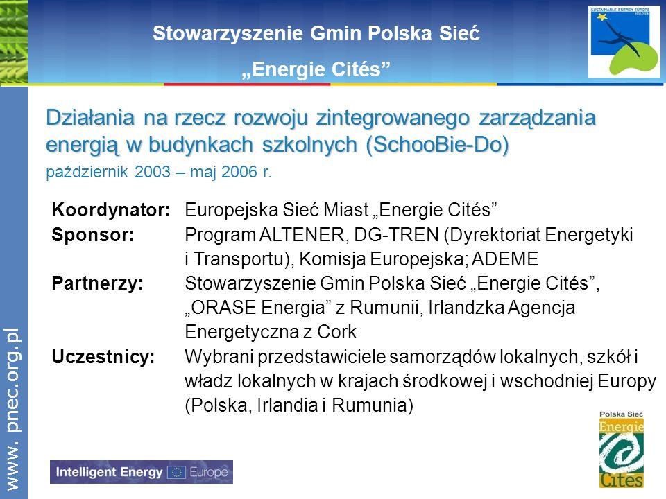 www.pnec.org.pl Stowarzyszenie Gmin Polska Sieć Energie Cités Działania na rzecz rozwoju zintegrowanego zarządzania energią w budynkach szkolnych (Sch