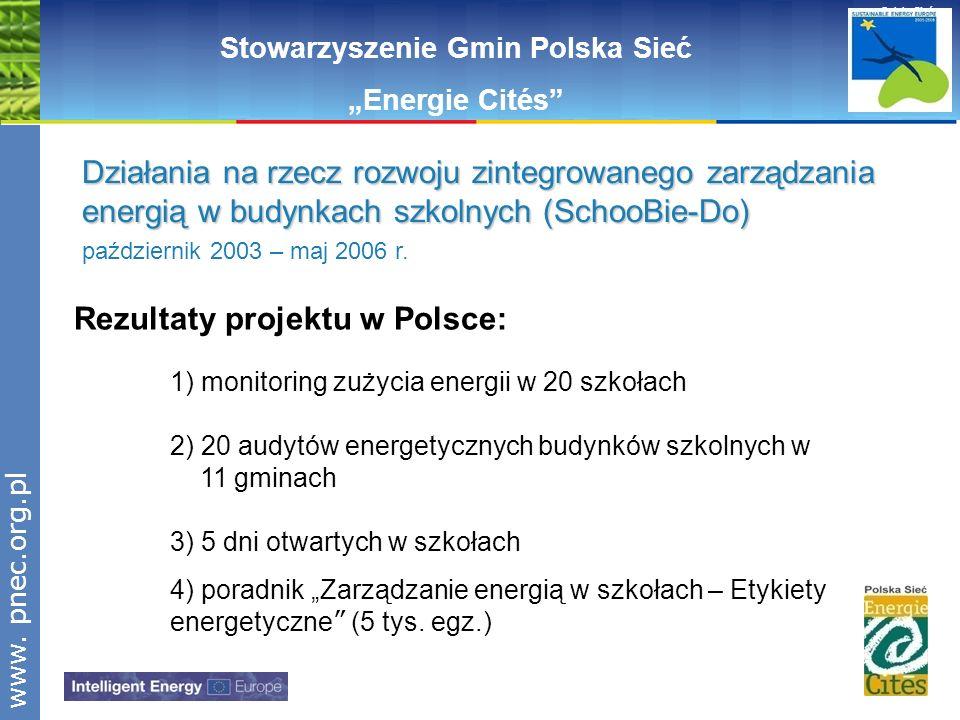 www.pnec.org.pl Polska Sieć www. pnec.org.pl Rezultaty projektu w Polsce: 1) monitoring zużycia energii w 20 szkołach 2) 20 audytów energetycznych bud