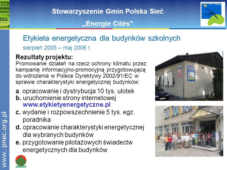 www.pnec.org.pl Rezultaty projektu: Promowanie działań na rzecz ochrony klimatu przez kampanię informacyjno-promocyjną przygotowującą do wdrożenia w P