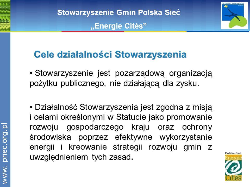 www.pnec.org.pl Polska Sieć Stowarzyszenie Gmin Polska Sieć Energie Cités Stowarzyszenie jest pozarządową organizacją pożytku publicznego, nie działaj