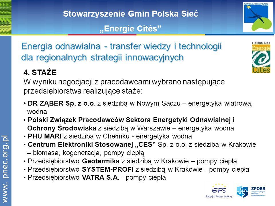 www.pnec.org.pl Stowarzyszenie Gmin Polska Sieć Energie Cités Energia odnawialna - transfer wiedzy i technologii dla regionalnych strategii innowacyjn