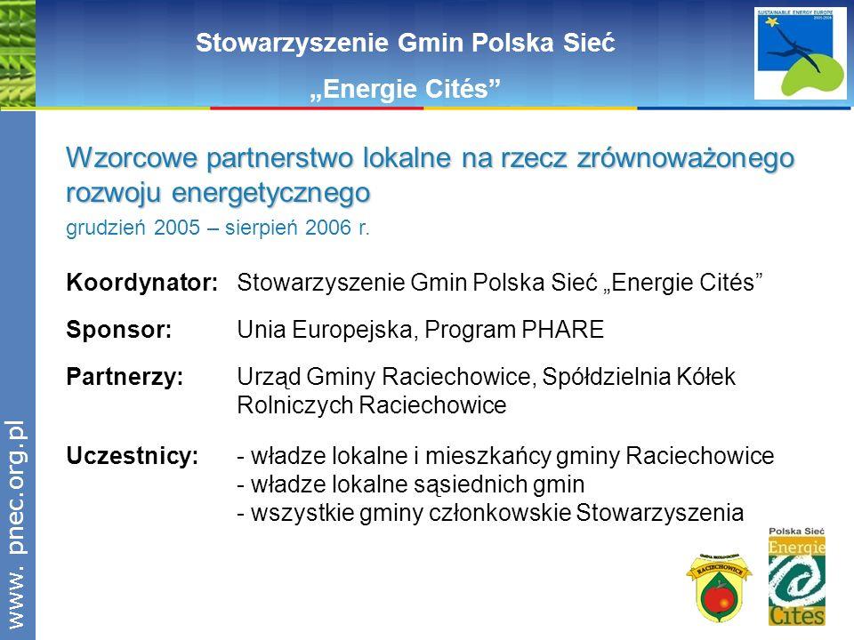 www.pnec.org.pl Koordynator: Stowarzyszenie Gmin Polska Sieć Energie Cités Sponsor: Unia Europejska, Program PHARE Partnerzy: Urząd Gminy Raciechowice