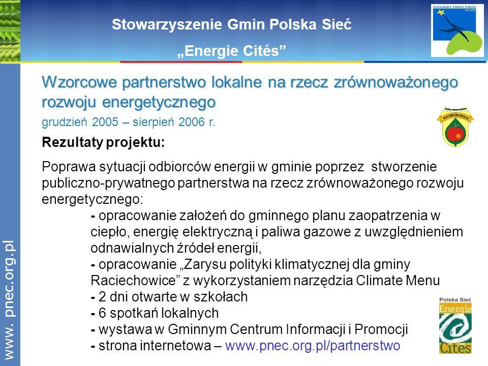 www.pnec.org.pl Rezultaty projektu: Poprawa sytuacji odbiorców energii w gminie poprzez stworzenie publiczno-prywatnego partnerstwa na rzecz zrównoważ