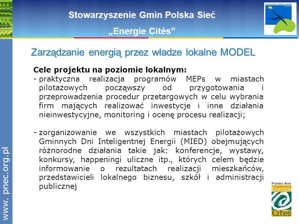 www.pnec.org.pl Cele projektu na poziomie lokalnym: -praktyczna realizacja programów MEPs w miastach pilotażowych począwszy od przygotowania i przepro