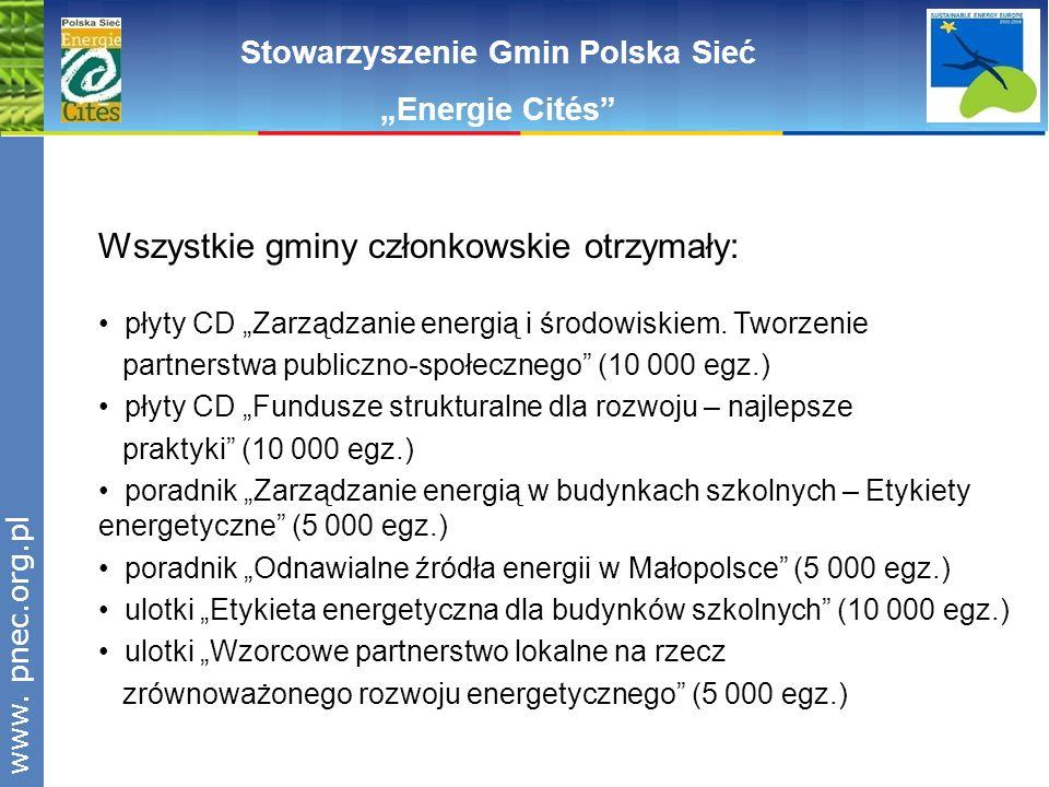www.pnec.org.pl Stowarzyszenie Gmin Polska Sieć Energie Cités Wszystkie gminy członkowskie otrzymały: płyty CD Zarządzanie energią i środowiskiem. Two