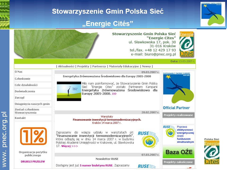 www.pnec.org.pl Stowarzyszenie Gmin Polska Sieć Energie Cités