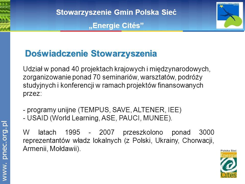 www.pnec.org.pl Udział w ponad 40 projektach krajowych i międzynarodowych, zorganizowanie ponad 70 seminariów, warsztatów, podróży studyjnych i konfer