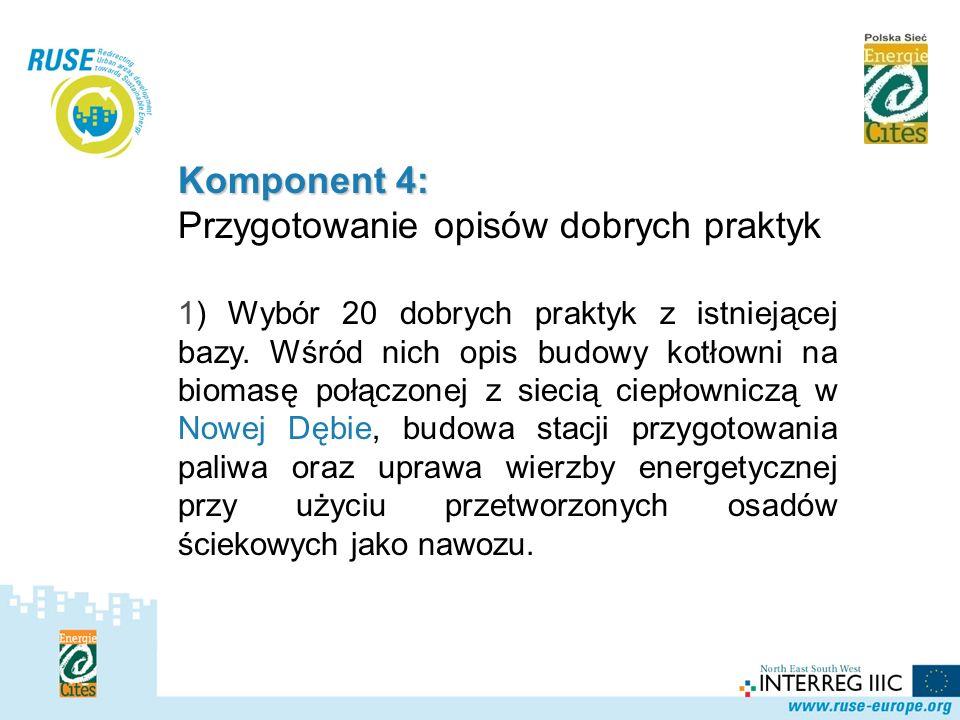 Polska Sieć Komponent 4: Przygotowanie opisów dobrych praktyk 1) Wybór 20 dobrych praktyk z istniejącej bazy. Wśród nich opis budowy kotłowni na bioma