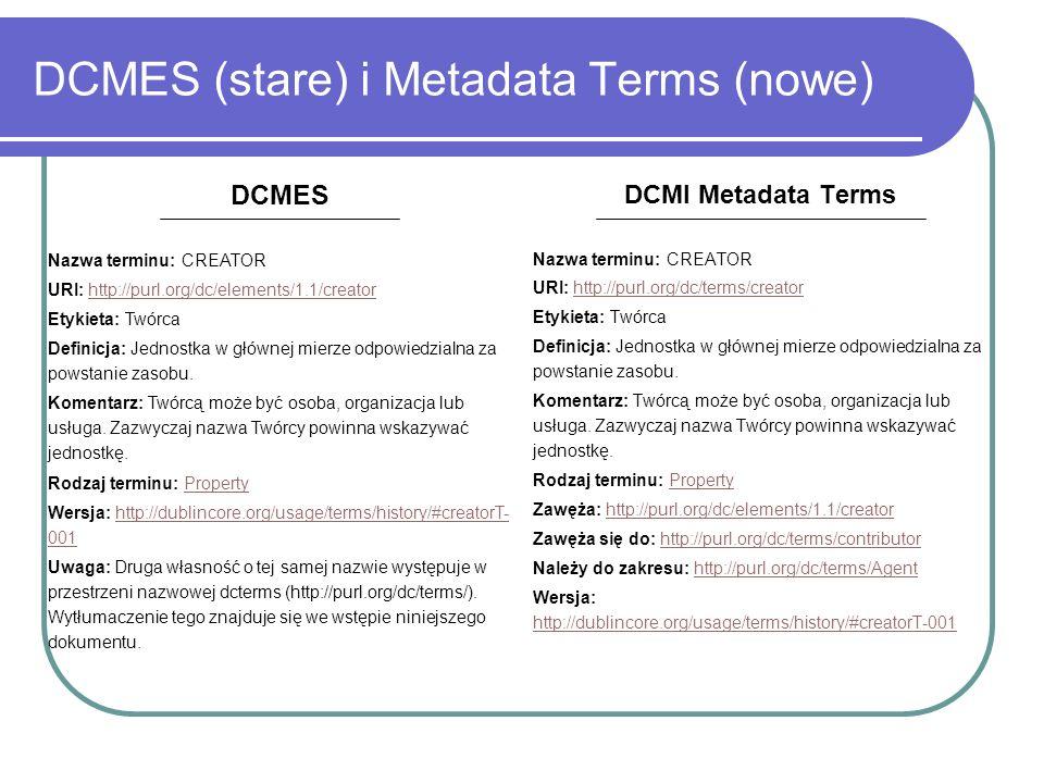 DCMES (stare) i Metadata Terms (nowe) DCMI Metadata Terms Nazwa terminu: CREATOR URI: http://purl.org/dc/terms/creatorhttp://purl.org/dc/terms/creator