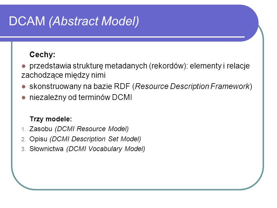 DCAM (Abstract Model) Cechy: przedstawia strukturę metadanych (rekordów): elementy i relacje zachodzące między nimi skonstruowany na bazie RDF (Resour
