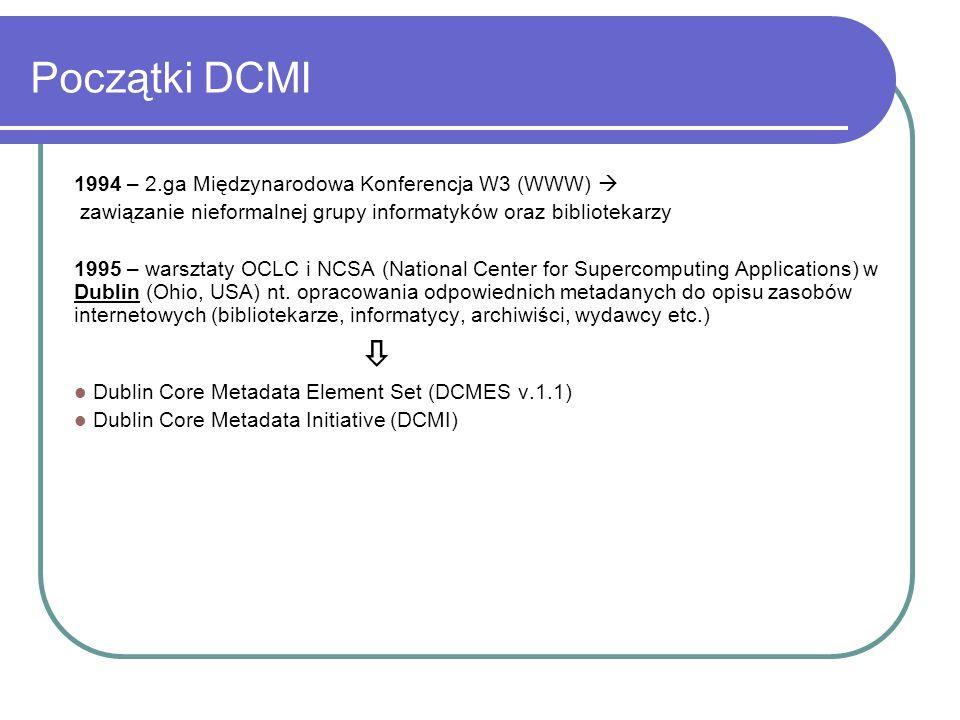 Początki DCMI 1994 – 2.ga Międzynarodowa Konferencja W3 (WWW) zawiązanie nieformalnej grupy informatyków oraz bibliotekarzy 1995 – warsztaty OCLC i NC