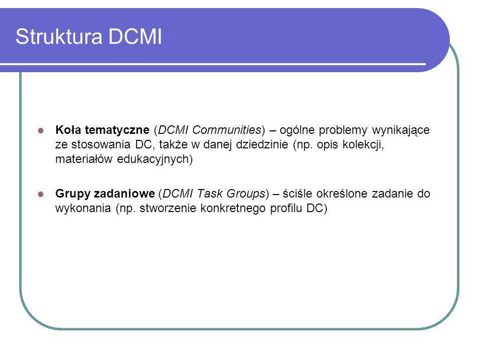Struktura DCMI Koła tematyczne (DCMI Communities) – ogólne problemy wynikające ze stosowania DC, także w danej dziedzinie (np. opis kolekcji, materiał