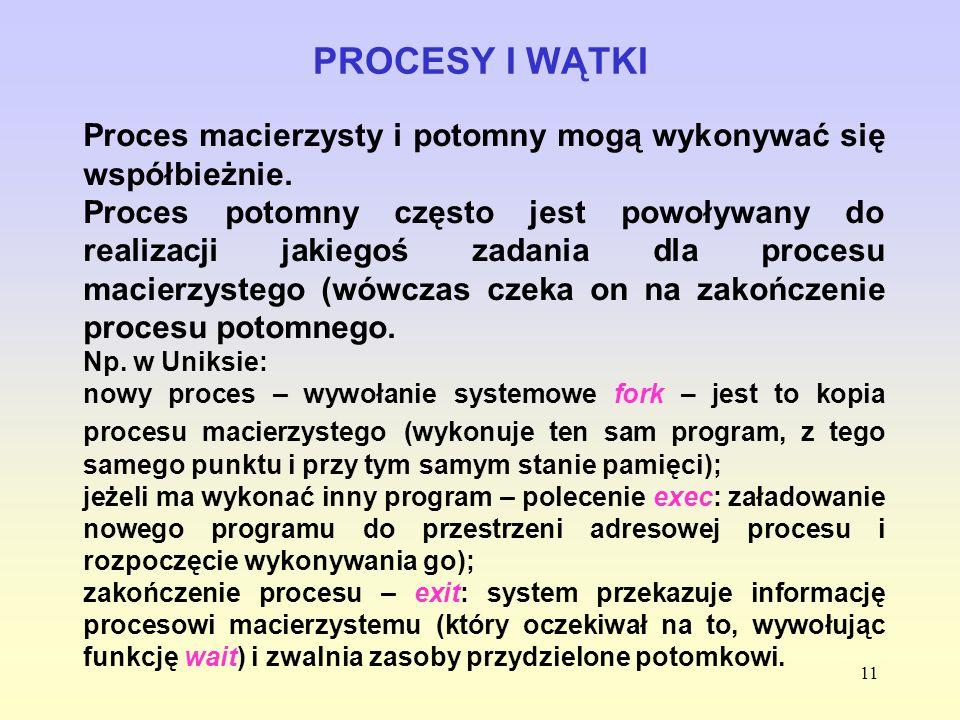 11 PROCESY I WĄTKI Proces macierzysty i potomny mogą wykonywać się współbieżnie. Proces potomny często jest powoływany do realizacji jakiegoś zadania