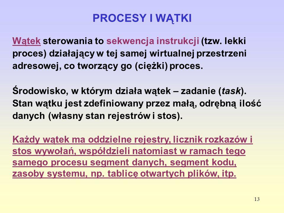 13 PROCESY I WĄTKI Wątek sterowania to sekwencja instrukcji (tzw. lekki proces) działający w tej samej wirtualnej przestrzeni adresowej, co tworzący g