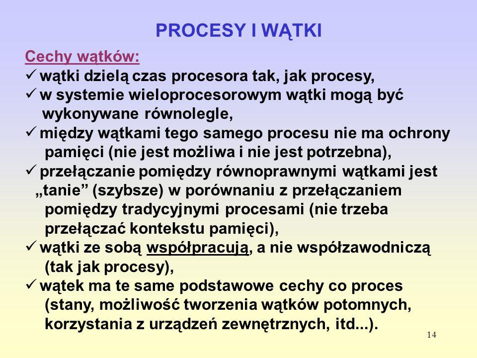 14 PROCESY I WĄTKI Cechy wątków: wątki dzielą czas procesora tak, jak procesy, w systemie wieloprocesorowym wątki mogą być wykonywane równolegle, międ