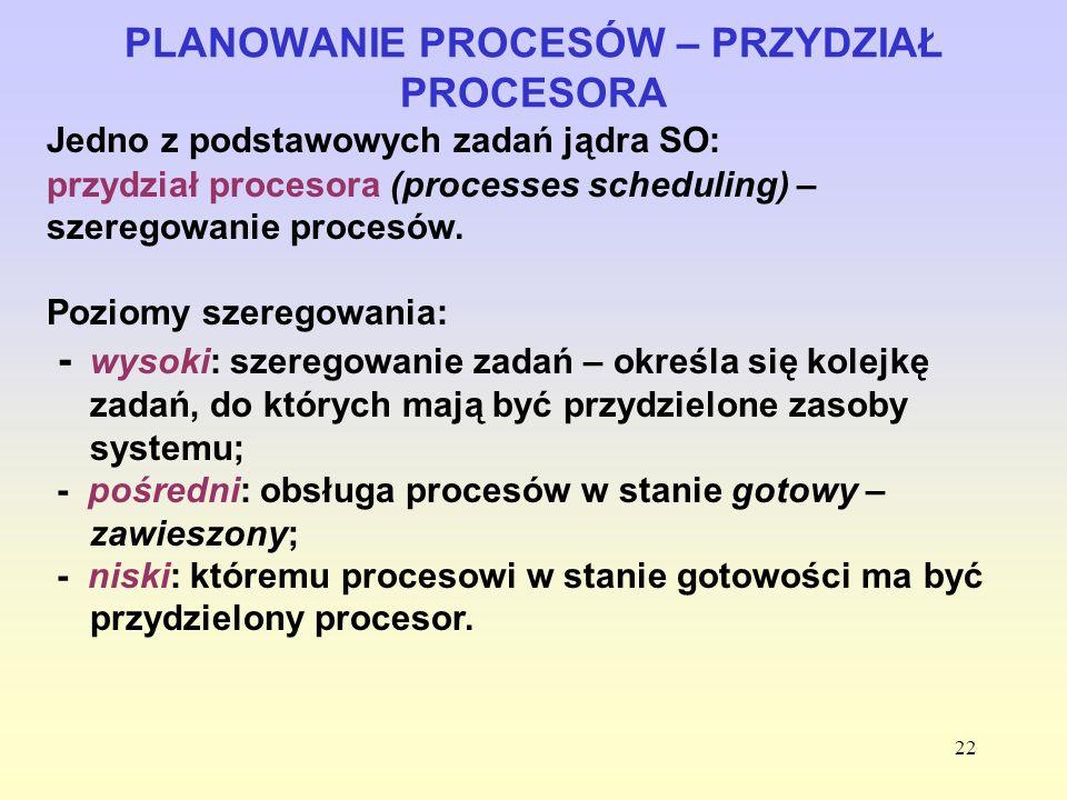 22 PLANOWANIE PROCESÓW – PRZYDZIAŁ PROCESORA Jedno z podstawowych zadań jądra SO: przydział procesora (processes scheduling) – szeregowanie procesów.