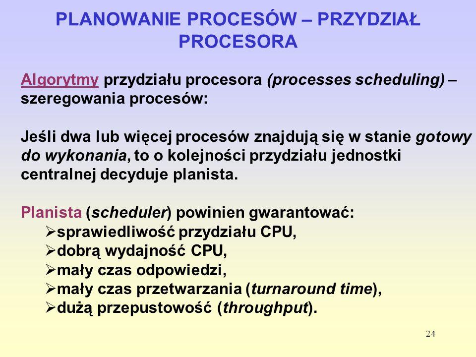 24 PLANOWANIE PROCESÓW – PRZYDZIAŁ PROCESORA Algorytmy przydziału procesora (processes scheduling) – szeregowania procesów: Jeśli dwa lub więcej proce