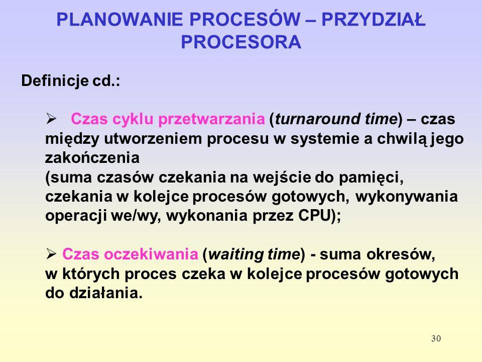 30 PLANOWANIE PROCESÓW – PRZYDZIAŁ PROCESORA Definicje cd.: Czas cyklu przetwarzania (turnaround time) – czas między utworzeniem procesu w systemie a