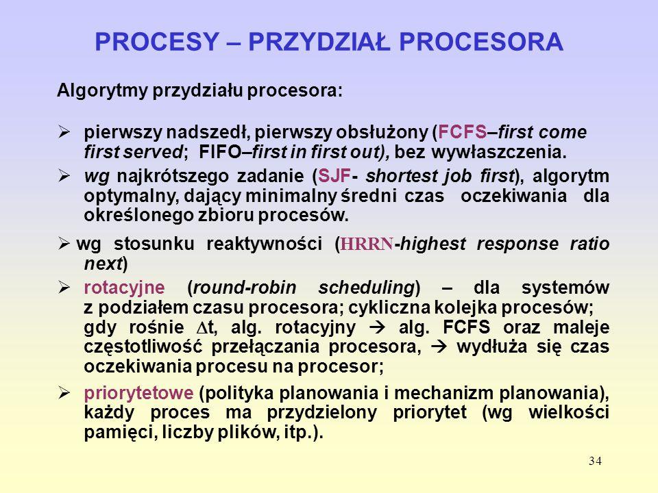 34 PROCESY – PRZYDZIAŁ PROCESORA Algorytmy przydziału procesora: pierwszy nadszedł, pierwszy obsłużony (FCFS–first come first served; FIFO–first in fi