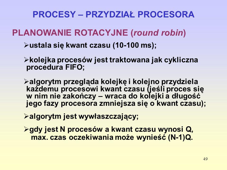 49 PROCESY – PRZYDZIAŁ PROCESORA PLANOWANIE ROTACYJNE (round robin) ustala się kwant czasu (10-100 ms); kolejka procesów jest traktowana jak cykliczna