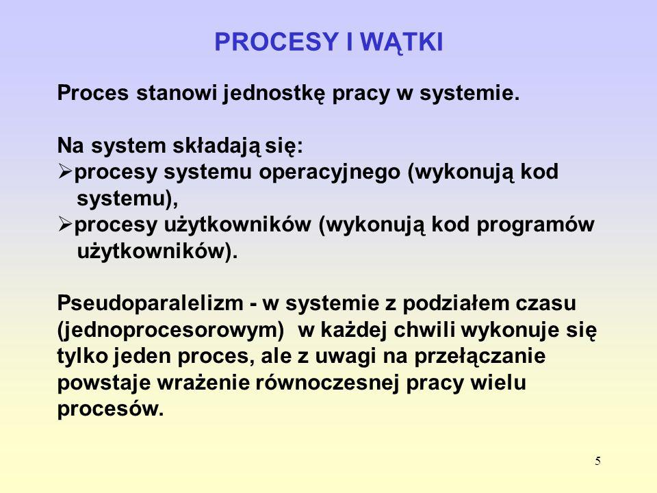 5 PROCESY I WĄTKI Proces stanowi jednostkę pracy w systemie. Na system składają się: procesy systemu operacyjnego (wykonują kod systemu), procesy użyt