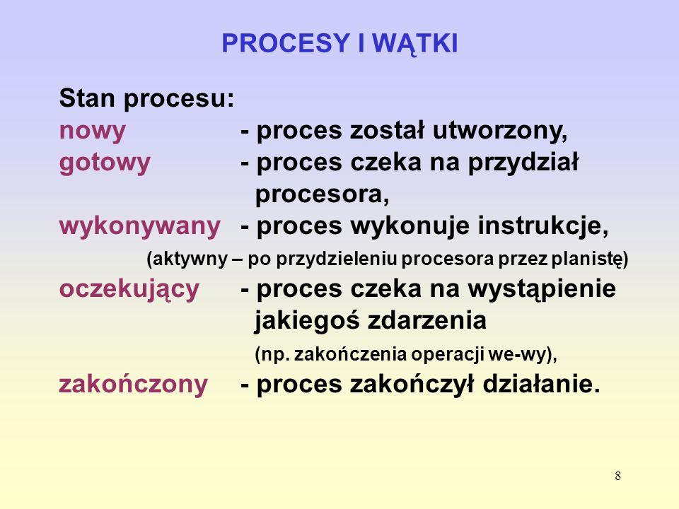8 PROCESY I WĄTKI Stan procesu: nowy- proces został utworzony, gotowy - proces czeka na przydział procesora, wykonywany - proces wykonuje instrukcje,