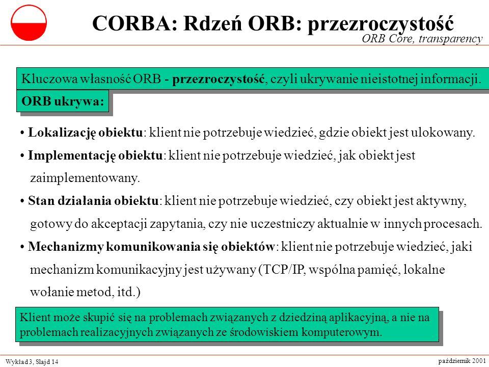 Wykład 3, Slajd 14 październik 2001 ORB Core, transparency Kluczowa własność ORB - przezroczystość, czyli ukrywanie nieistotnej informacji. Lokalizacj
