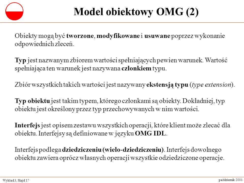 Wykład 3, Slajd 17 październik 2001 Obiekty mogą być tworzone, modyfikowane i usuwane poprzez wykonanie odpowiednich zleceń. Typ jest nazwanym zbiorem