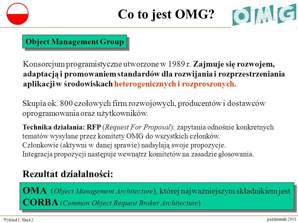 Wykład 3, Slajd 2 październik 2001 Object Management Group Konsorcjum programistyczne utworzone w 1989 r. Zajmuje się rozwojem, adaptacją i promowanie