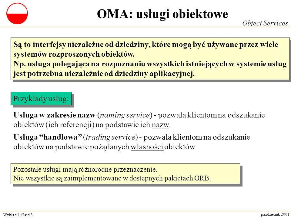 Wykład 3, Slajd 8 październik 2001 Są to interfejsy niezależne od dziedziny, które mogą być używane przez wiele systemów rozproszonych obiektów. Np. u