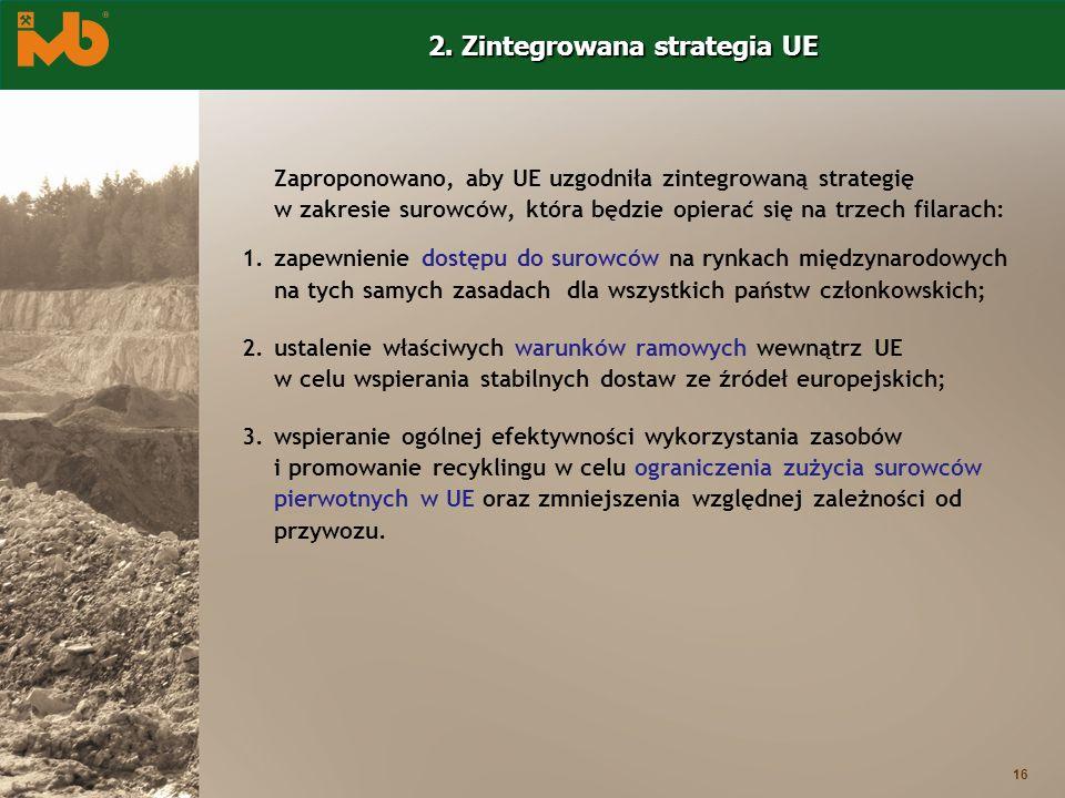 16 Zaproponowano, aby UE uzgodniła zintegrowaną strategię w zakresie surowców, która będzie opierać się na trzech filarach: 1.zapewnienie dostępu do s