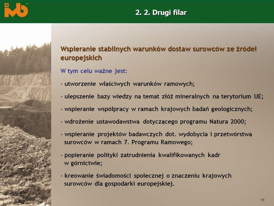 18 Wspieranie stabilnych warunków dostaw surowców ze źródeł europejskich W tym celu ważne jest: - utworzenie właściwych warunków ramowych; - ulepszeni