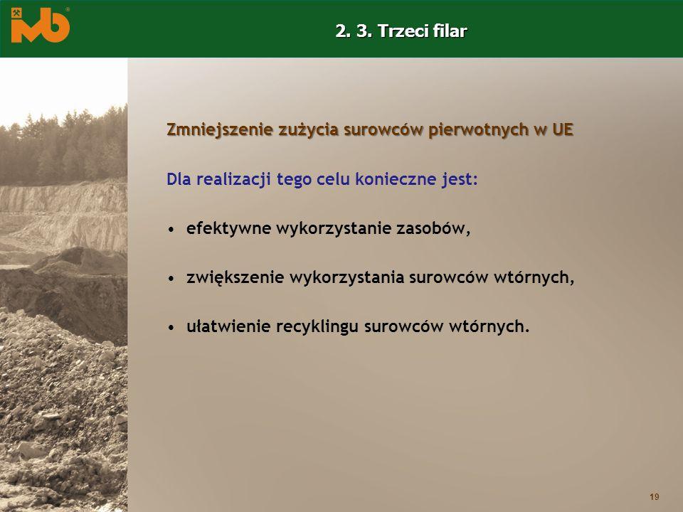 19 Zmniejszenie zużycia surowców pierwotnych w UE Dla realizacji tego celu konieczne jest: efektywne wykorzystanie zasobów, zwiększenie wykorzystania