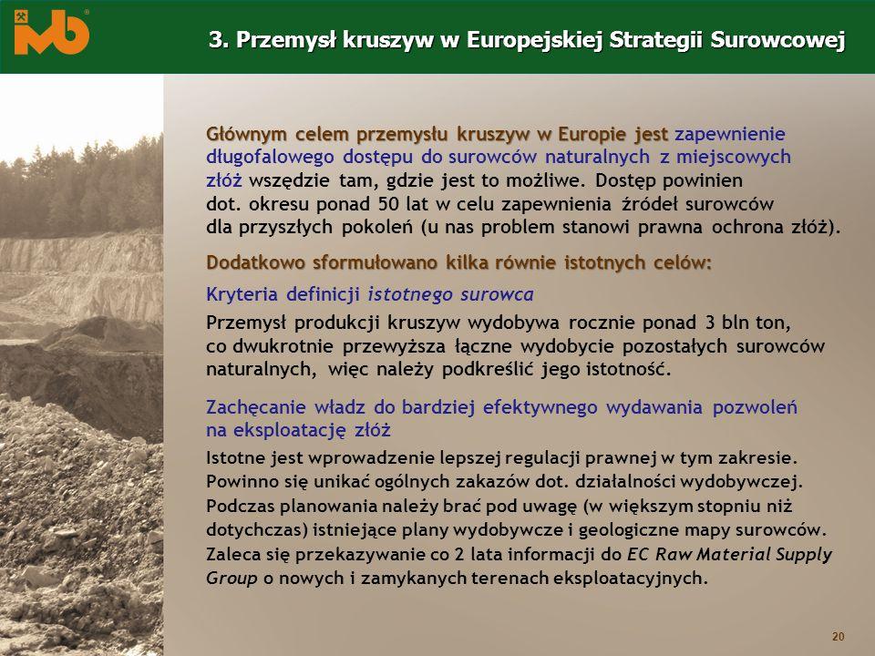 20 Głównym celem przemysłu kruszyw w Europie jest Głównym celem przemysłu kruszyw w Europie jest zapewnienie długofalowego dostępu do surowców natural