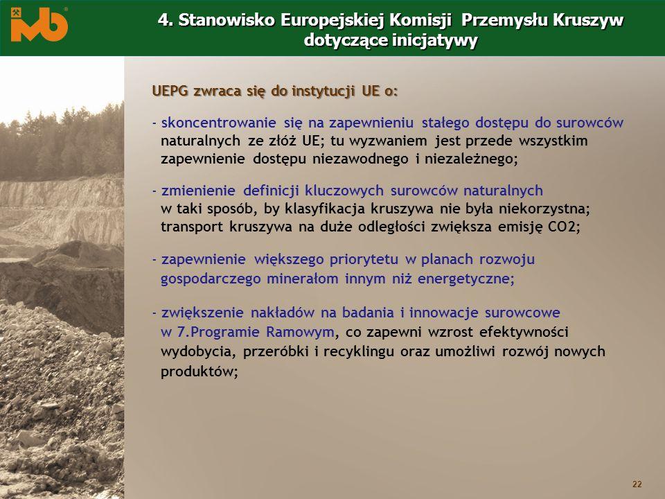 22 4. Stanowisko Europejskiej Komisji Przemysłu Kruszyw dotyczące inicjatywy UEPG zwraca się do instytucji UE o: - skoncentrowanie się na zapewnieniu