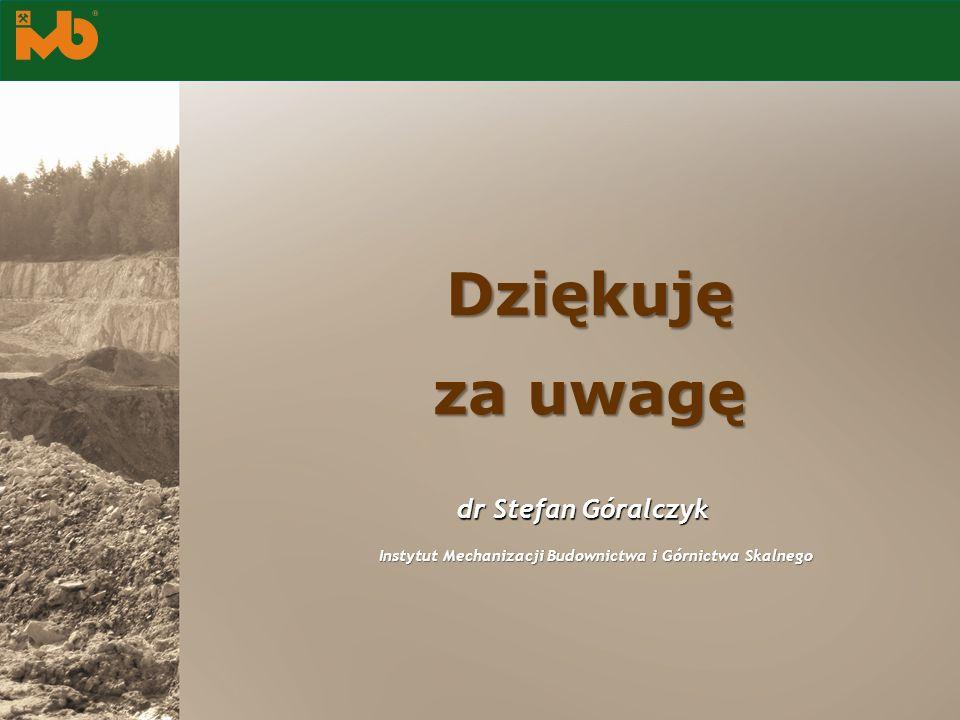 dr Stefan Góralczyk Instytut Mechanizacji Budownictwa i Górnictwa Skalnego Dziękuję za uwagę