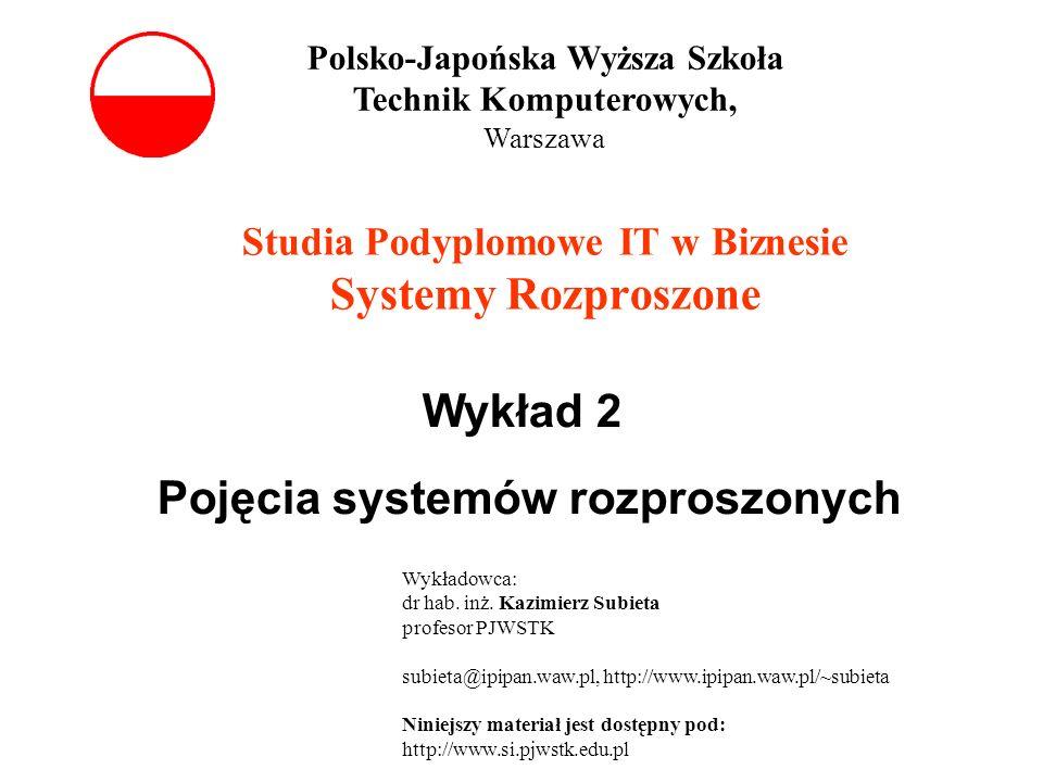Studia Podyplomowe IT w Biznesie Systemy Rozproszone Wykład 2 Pojęcia systemów rozproszonych Polsko-Japońska Wyższa Szkoła Technik Komputerowych, Wars
